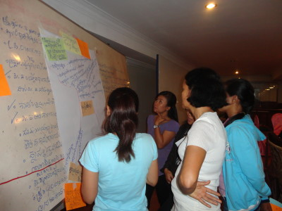 Staff discuss key compenents of Banteay Srei's theory of change